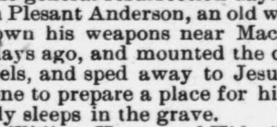 Anderson John Plesant, Obituary, 1897, Raleigh, NC Gazette
