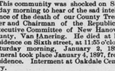 Anering, Van, Obituary, 1897, Cape Fear, New Hanover County, NC