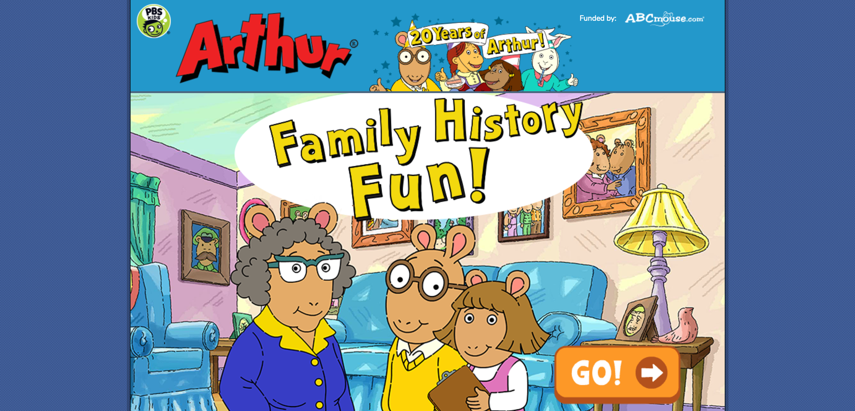 pbs kids� family history fun with arthur game introduces
