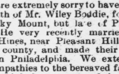 Boddie, Wiley, Death Notice, 1896, Raleigh, NC
