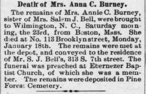 Burney, Anna C., Death Notice, 1897, Wilmington, NC