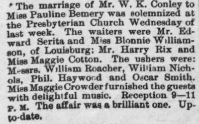 Conley W.K. and Pauline Bemery, Marriage Notice, 1897, Raleigh, NC