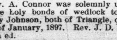 Connor, Rev A. and Mrs. Neally Johnson, Marriage Notice, 1897, Raleigh, NC Gazette