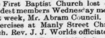 Council, Abraham, Obituary, 1897, Raleigh, NC Gazette