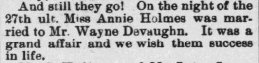 Devaughn, Wayne and Annie Holmes, Marriage Notice, 1897, Raleigh, NC