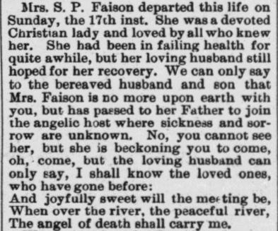 Faison, Mrs. S.P., Obituary, 1897, Raleigh, NC
