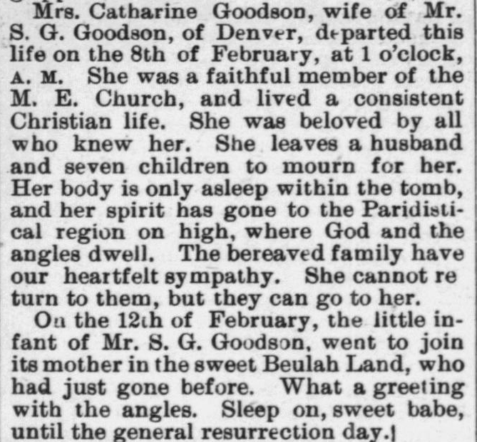 Goodson, Catherine and Infant, Obituary, 1897, Raleigh, NC Gazette