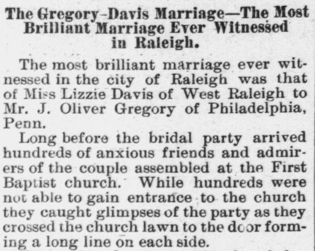Gregory, J. Oliver to Lizzie Davis, Marriage Notice, 1896, Raleigh, NC