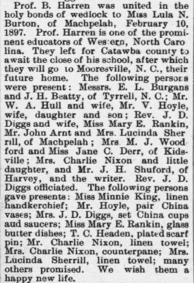 Harron, Prof. B. and Lula N. Burton, Marriage Notice, 1897, Raleigh, NC Gazette