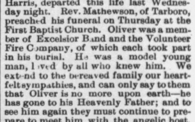 Harris, Oliver, Death Notice, 1897, Tarboro, NC