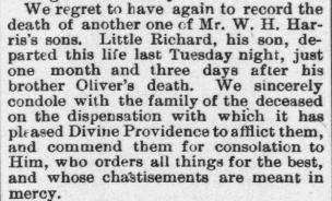 Harris, Richard, Obituary, 1897, Raleigh, NC Gazette