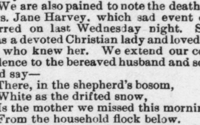 Harvey, Jane, Obituary, 1897, Raleigh, NC Gazette