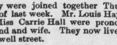 Haywood, Louis and Carrie Hall, Marriage Notice, 1897, Raleigh, NC