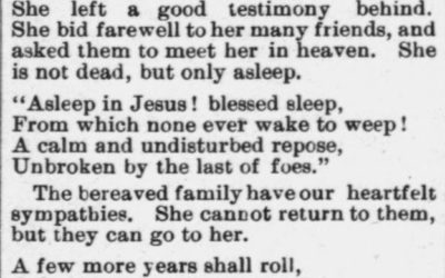 Hooper, Mrs. William, Kidsville, NC, Obituary, 1897, Raleigh, NC Gazette