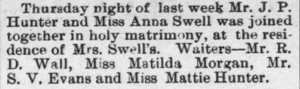 Hunter, J.P. and Anna Swell, Marriage Notice, 1897, Raleigh, NC