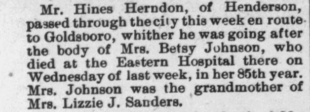 Johnson, Betsy, Obituary, 1897, Raleigh NC