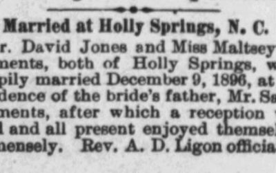 Jones, David and Maltsey A. Clements, Marriage Notice, 1896, Holly Springs, NC