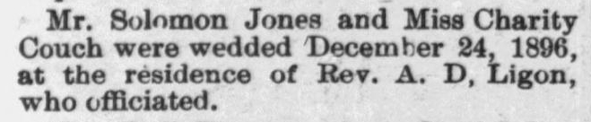 Jones, Solomon and Charity Couch, Marriage Notice, Raleigh, NC