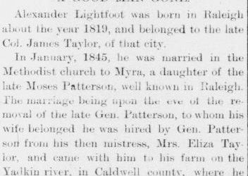 Lightfoot, Alexander, Obituary, 24 Sep 1891, Raleigh, NC