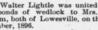 Lightle, Walter and Mrs. Mary Graham, Lowesville, NC, Wedding Notice, 1897 Raleigh, NC Gazette