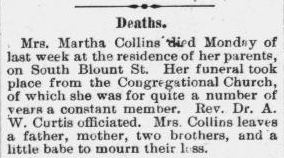Collins, Martha, Obituary, 31 Oct 1896, Raleigh, NC