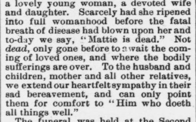 Rhodes, Mattie, Obituary, 1897, Raleigh, NC