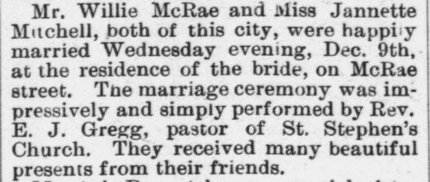 McRae, Willie and Jannette Mitchell, Marriage Notice, 1896, Raleigh, NC