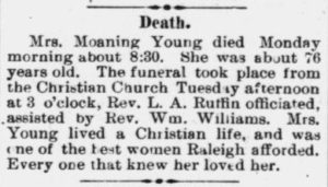 Moaning Young Obituary 1896 Raleigh NC