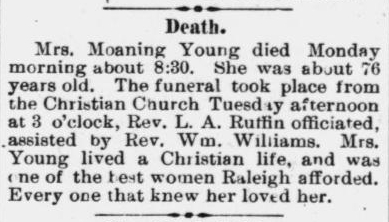 Young, Moaning, Obituary, 1896, Raleigh, NC