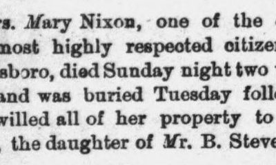 Nixon, Mary, Obituary, 16 Dec 1893, Goldsboro, NC