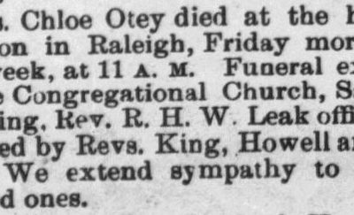Otey, Chloe, Obituary, 1897, Raleigh, NC