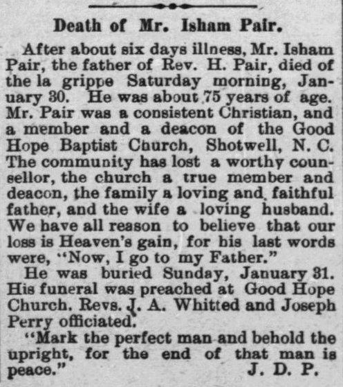 Pair, Isham, Obituary, 1897, Raleigh, NC