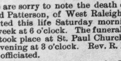 Patterson, Alfred, Obituary, 1897, Raleigh, NC