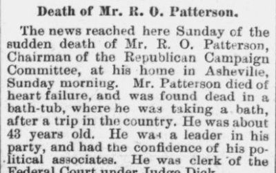 Patterson, R.O., Obituary, 1896, Asheville, NC