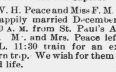 Peace, W.H. and F.M. O'Kelly, Marriage Notice, 1897, Raleigh, NC