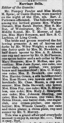 Pender, Pompey and Mattie M. Spear, Marriage Notice, 1897, Raleigh, NC Gazette