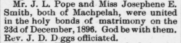Pope, J.L. and Josephene E. Smith, Marriage Notice, 1897, Raleigh, NC Gazette