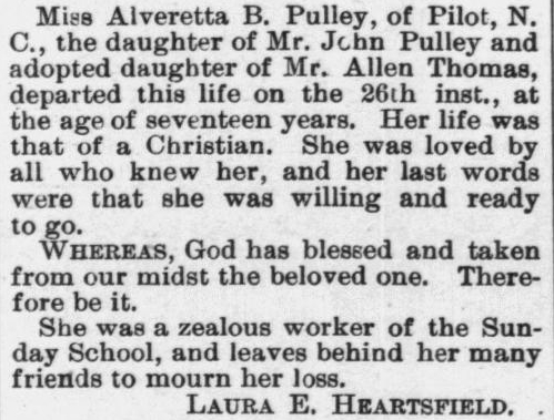 Pulley, Alvaretta, Obituary, 1897, Raleigh, NC