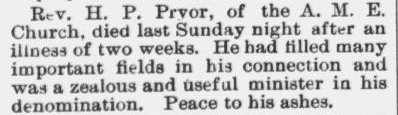 Pryor, Rev. H.P., Obituary, 1896, Raleigh, NC