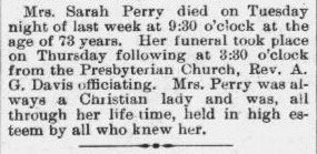 Perry, Sarah, Obituary, 31 Oct 1896, Raleigh, NC