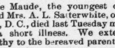 Satterwhite, Maude, Washington, D.C., Obituary, 1897, Raleigh, NC Gazette