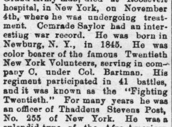Saylor, William B., Obituary, 1897, New York