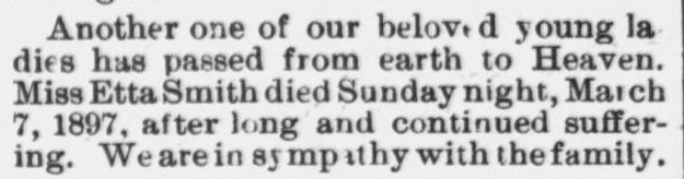 Smith, Etta, Obituary, 1897, Raleigh NC Gazette