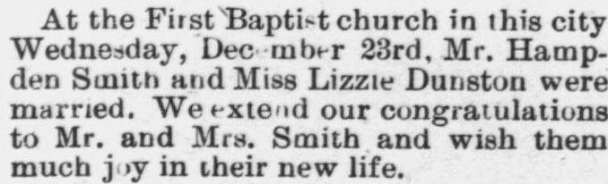 Smith, Hampden and Lizzie Dunston, Marriage Notice, 1897, Raleigh, NC