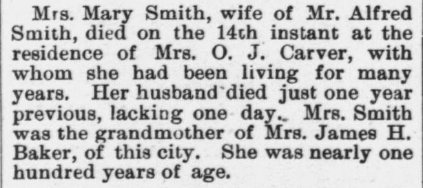 Smith, Mary, Obituary, 1897, Raleigh, NC