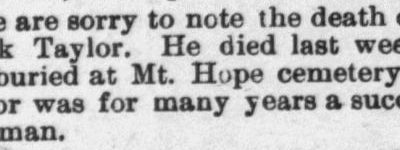 Taylor, Hawk. Obituary, 1897, Raleigh, NC