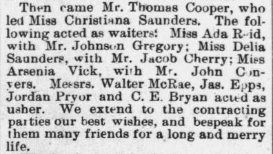 Cooper, Thomas and Christiana Saunders, Marriage Notice, 1896, Raleigh, NC