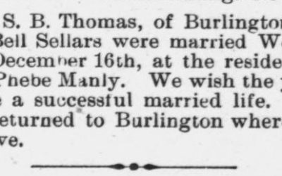 Thomas, S.B. and Bell Sanders, Marriage Notice, 1897, Raleigh, NC