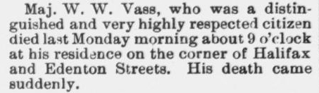 Vass, Maj. W.W., Death Notice, 1896, Raleigh, NC