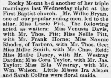 Bryan, Willie and Lizzie Pitt, Marriage Notice, 1896, Rocky Mount, NC